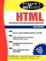 Schaum's Outline of HTML : Introduction to Web Page Design and Development - David Mercer