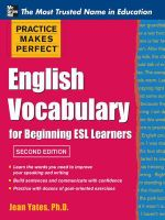 Practice Makes Perfect English Vocabulary for Beginning ESL Learners - Jean Yates