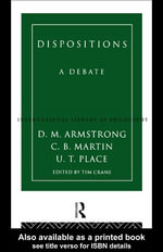 Dispositions : A Debate - D.M. Armstrong