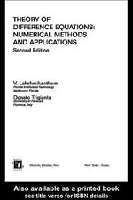 Theory Of Difference Equations Numerical Methods And Applications : Numerical Methods and Applications - V. Lakshmikantham