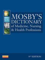 Mosby's Dictionary of Medicine, Nursing, and Health Professions : 2nd Edition (Australian and New Zealand Edition) - Mosby