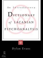 An Introductory Dictionary of Lacanian Psychoanalysis - Dylan Evans