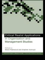 Critical Realist Applications in Organisation and Management Studies : Ontological Explorations