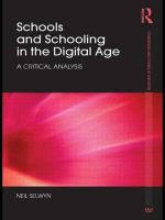 Schools and Schooling in the Digital Age : A Critical Analysis - Neil Selwyn
