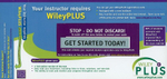 WileyPlus Registration Card for Principles of Anatomy and Physiology : Wiley Plus Products - Gerard J. Tortora