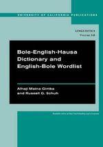 Bole-English-Hausa Dictionary and English-Bole Wordlist - Alhaji Maina Gimba