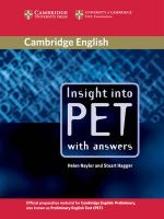 Insight into PET Student's Book with Answers : With Answers - Helen Naylor