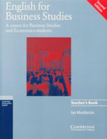 English for Business Studies : Teacher's Book  : A Course for Business Studies and Economics Students - Ian MacKenzie
