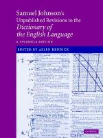 Samuel Johnson's Unpublished Revisions to the Dictionary of the English Language : A Facsimile Edition - Samuel Johnson