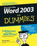 Word 2003 For Dummies : For Dummies - Dan Gookin
