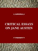 Critical Essays on Jane Austen : Jane Austen - Laura Mooneyham White