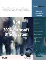 VBA for the 2007 Microsoft Office System : Business Solutions - Paul McFedries