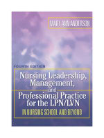 Nursing Leadership, Management, and Professional Practice for the LPN/LVN in Nursing School and Beyond : In Nursing School and Beyond - Mary Ann Anderson