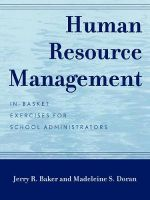 Human Resource Management : In-Basket Exercises for School Administrators - Jerry R. Baker
