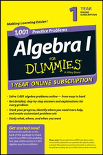 1,001 Algebra I Practice Problems for Dummies Access Code Card (1-Year Subscription) - Mary Jane Sterling