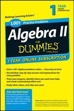 1,001 Algebra II Practice Problems for Dummies Access Code Card (1-Year Subscription) - Mary Jane Sterling