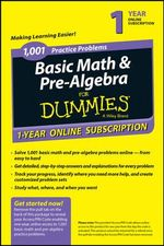 1,001 Basic Math & Pre-Algebra Practice Problems for Dummies Access Code Card (1-Year Subscription) - Mark Zegarelli
