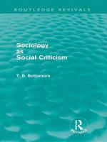 Sociology as Social Criticism (Routledge Revivals) - Tom B. Bottomore