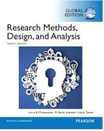 Research Methods, Design, and Analysis, Global Edition - Larry B. Christensen