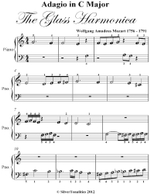Adagio in C Major Glass Harmonica Beginner Piano Sheet Music - Wolfgang Amadeus Mozart