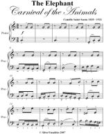Elephant Carnival of the Animals Easy Piano Sheet Music - Camille Saint Saens