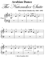 Arabian Dance Nutcracker Suite Beginner Piano Sheet Music - Peter Ilyich Tchaikovsky