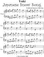 Yuki Japanese Snow Song Easy Piano Sheet Music - Traditional Japanese