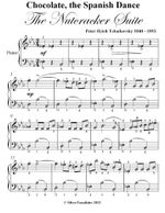 Chocolate the Spanish Dance Nutcracker Suite Easy Piano Sheet Music - Peter Ilyich Tchaikovsky