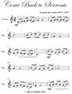 Come Back to Sorrento Easy Violin Sheet Music - Ernesto De Curtis