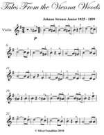 Tales from the Vienna Woods Easy Violin Sheet Music - Johann Strauss Junior