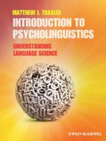 Introduction to Psycholinguistics : Understanding Language Science - Matthew J. Traxler