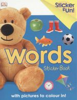 Words : Sticker book with pictures to colour in!