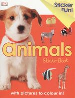 Animals : Sticker book with pictures to colour in!