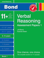 New Bond Assessment Papers Verbal Reasoning 9-10 Years : Book 1 - J M Bond