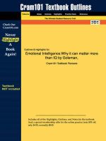 Studyguide for Emotional Intelligence : Why It Can Matter More Than IQ by Goleman, ISBN 9780553375060 - 1st Edition Goleman
