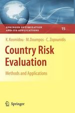 Country Risk Evaluation : Springer Optimization and Its Applications - Kyriaki Kosmidou
