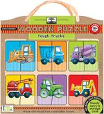 Green Start Tough Trucks Wood Puzzle : Earth Friend Puzzles with Handy Carry & Storage Case - Innovative Kids
