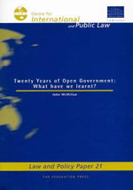 Two Decades of Open Government : What Have We Learnt? - John McMillan