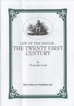 Law of the Manor : The Twenty First Century - Christopher Jessel