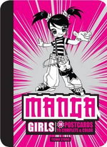 Manga Girls : 30 Postcards to Complete and Color