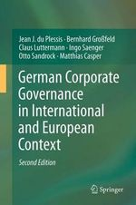 German Corporate Governance in International and European Context - Jean J. Du Plessis