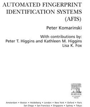 Automated Fingerprint Identification Systems (AFIS) - Peter Komarinski