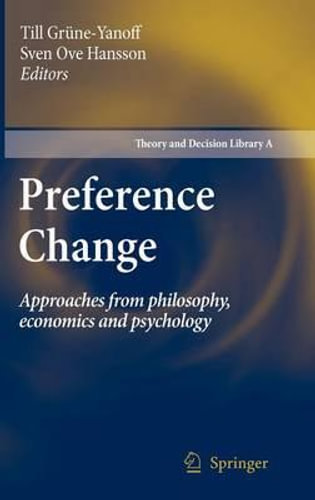 NEW Preference Change By Till Grune-Yanoff Hardcover Free Shipping