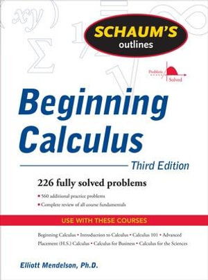 Cover of Schaum's Outline of Beginning Calculus, Third Edition