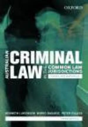 Cover of Australian Criminal Laws in the Common Law Jurisdiction.