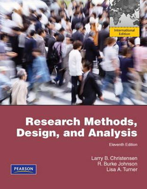 Cover of Research Methods, and Design, and Analysis Pearson International        Edition