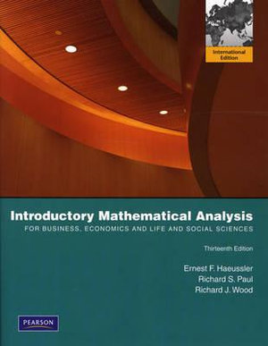 Cover of Introductory Mathematical Analysis for Business, Economics, and         the Life and Social Sciences: Pearson International Edition