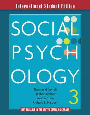 Cover of Social Psychology 3E International Student Edition