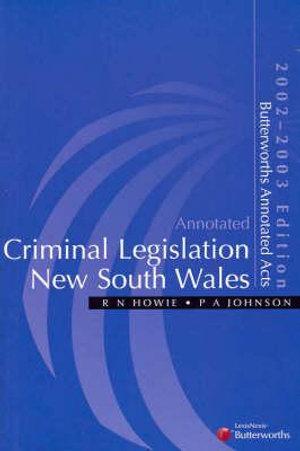 Cover of Criminal Legislation New South Wales 2002-2003