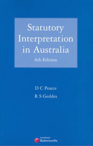 Cover of Statutory Interpretation in Australia